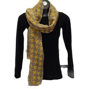 Gray & Yellow print scarf/ wrap head scarf